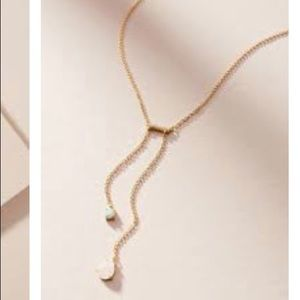 Anthropologie Double Drop Bar Necklace Gold Opal